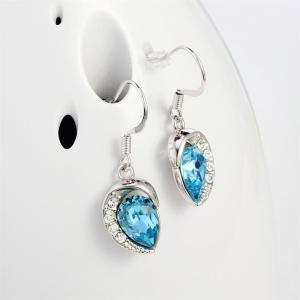 Ouxi Drop Earrings with Swarovski Crystals Waterdrop Dangle for Pierced Earrings - SILVER AND BLUE