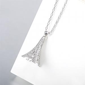 Sterling Silver 3D Paris Eiffel Tower Pendant Necklace Jewelry for Women & Girls as a Gift - FROST