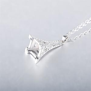 Sterling Silver 3D Paris Eiffel Tower Pendant Necklace Jewelry for Women & Girls as a Gift -