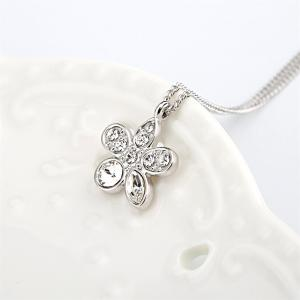 Summer Flower Pendant Necklace Enriched with White Swarovski & Austria Crystals - FROST