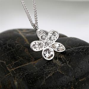 Summer Flower Pendant Necklace Enriched with White Swarovski & Austria Crystals -
