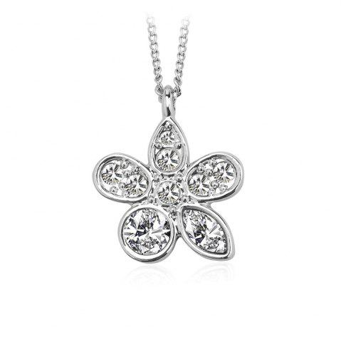 Store Summer Flower Pendant Necklace Enriched with White Swarovski & Austria Crystals