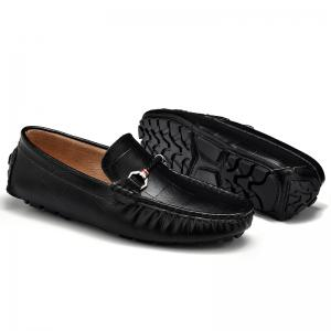 New Style Lazy Bean Shoes Men'S Shoes Leather Braided Tide Shoes Small Step in Korean Society - BLACK 43