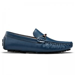 New Style Lazy Bean Shoes Men'S Shoes Leather Braided Tide Shoes Small Step in Korean Society - BLUE 43