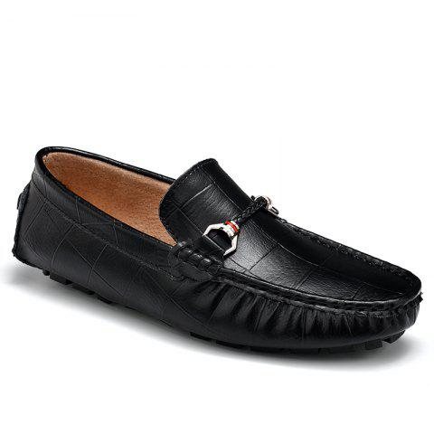 Fashion New Style Lazy Bean Shoes Men'S Shoes Leather Braided Tide Shoes Small Step in Korean Society - 43 BLACK Mobile