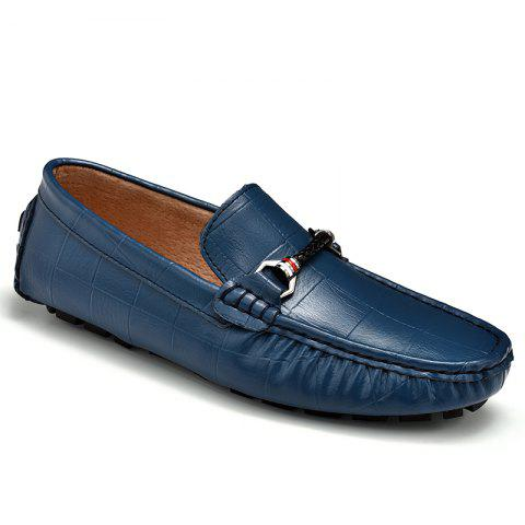 Trendy New Style Lazy Bean Shoes Men'S Shoes Leather Braided Tide Shoes Small Step in Korean Society BLUE 43