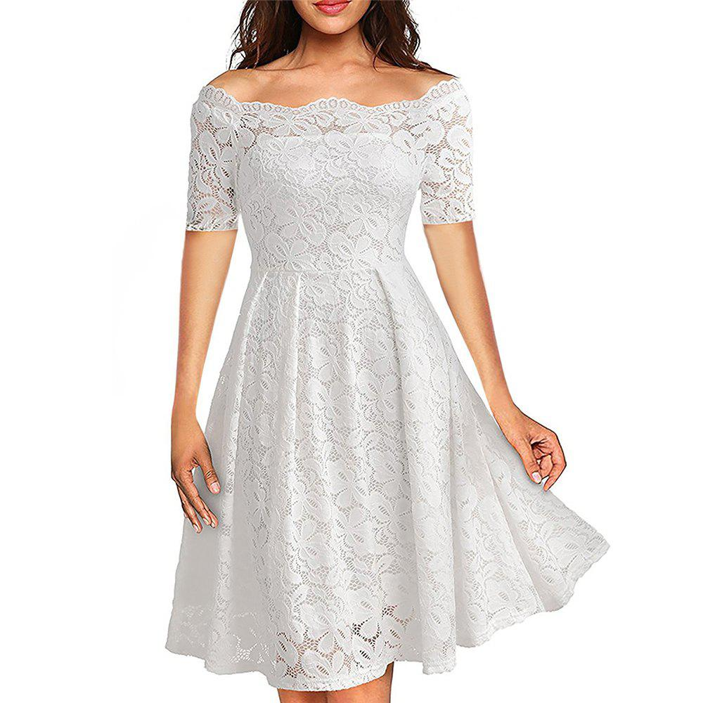 cbcb8c633700 Affordable 2017 Summer Embroidery Sexy Women Lace Off Shoulder Dresses  Short Sleeve Casual Evening Party A