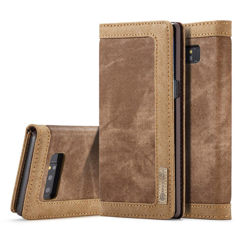 CaseMe Magnetic Closure Mixed Stitching Cowboy Jeans Leather Wallet Stand Case for Samsung Galaxy Note 8HOME<br><br>Color: BROWN;