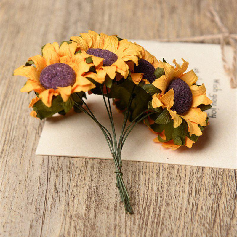 XM 10 Heads Mini Sunflower DIY Accessories Artificial Flowers 8CMHOME<br><br>Color: YELLOW; Style: Neoclassical; Branch Numbers: 1; Flower Materials: Paper; Display Space: Tabletop Flower; Floral Type: Sunflowers;