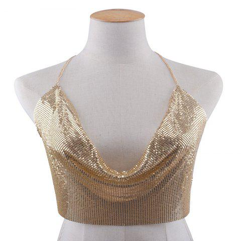 Sale Exaggerated Personality Fashion Sequins Body Beach Sexy Bra Ou Fan - GOLDEN  Mobile