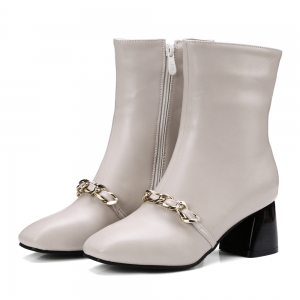 Women's Ankle Boots Metal Ornament Simple Style Zipper Boots -