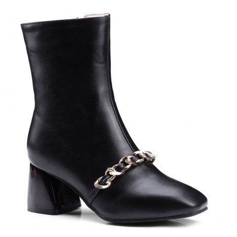 Hot Women's Ankle Boots Metal Ornament Simple Style Zipper Boots