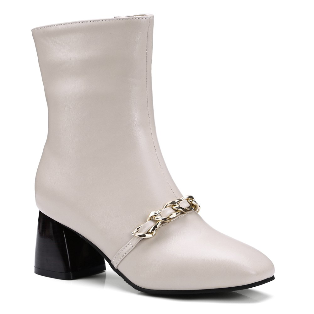 New Women's Ankle Boots Metal Ornament Simple Style Zipper Boots
