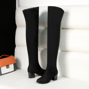 Women's Boots Solid Color Above Knee Stylish Heel Round Toe Shoes -