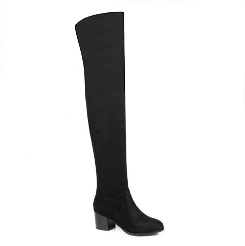 Trendy Women's Boots Solid Color Above Knee Stylish Heel Round Toe Shoes