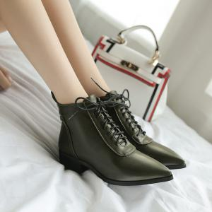 Women's Bottines Simple Style Pointed Toe Solid Color Strappy Low Heel Boots -