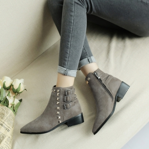Women's Bottine Thick Sole Strap Buckle Design Casual Boots -