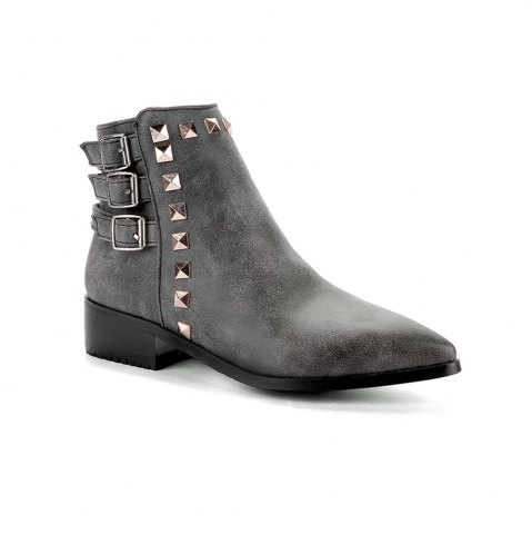 Trendy Women's Bottine Thick Sole Strap Buckle Design Casual Boots
