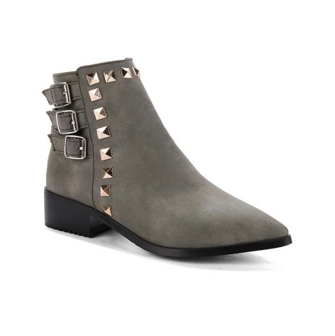 Affordable Women's Bottine Thick Sole Strap Buckle Design Casual Boots
