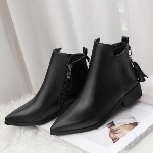 Women's Bottines Vogue Solid Color Pointed Toe Tassel Pendant Square Heel Shoes -