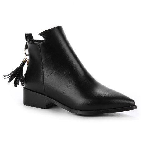 Store Women's Bottines Vogue Solid Color Pointed Toe Tassel Pendant Square Heel Shoes