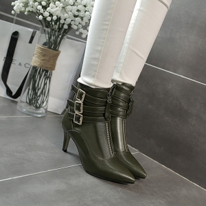 Women's Short Boots Fashion Pointed High Thin Heels Shoes -