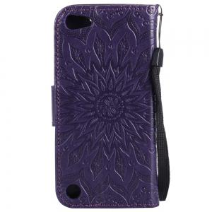 Sun Flower Printing Design Pu Leather Flip Wallet Lanyard Protective Case for iPod Touch 5 / 6 -