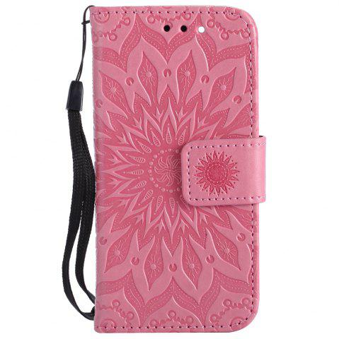 Fashion Sun Flower Printing Design Pu Leather Flip Wallet Lanyard Protective Case for iPod Touch 5 / 6