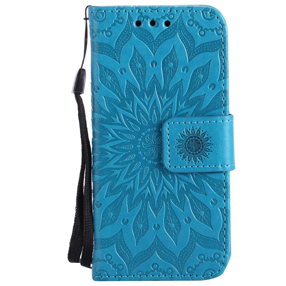 Trendy Sun Flower Printing Design Pu Leather Flip Wallet Lanyard Protective Case for iPod Touch 5 / 6
