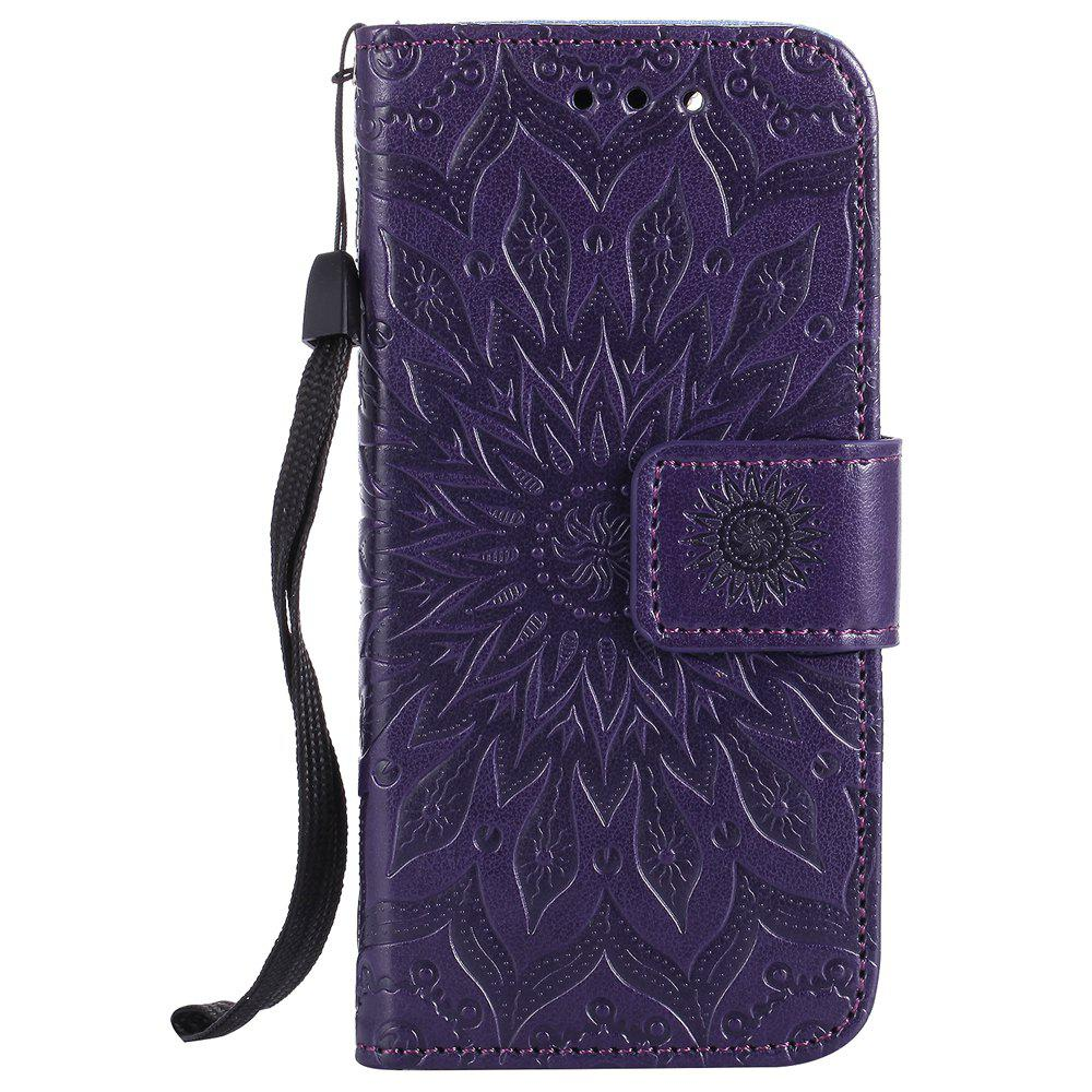Outfit Sun Flower Printing Design Pu Leather Flip Wallet Lanyard Protective Case for iPod Touch 5 / 6