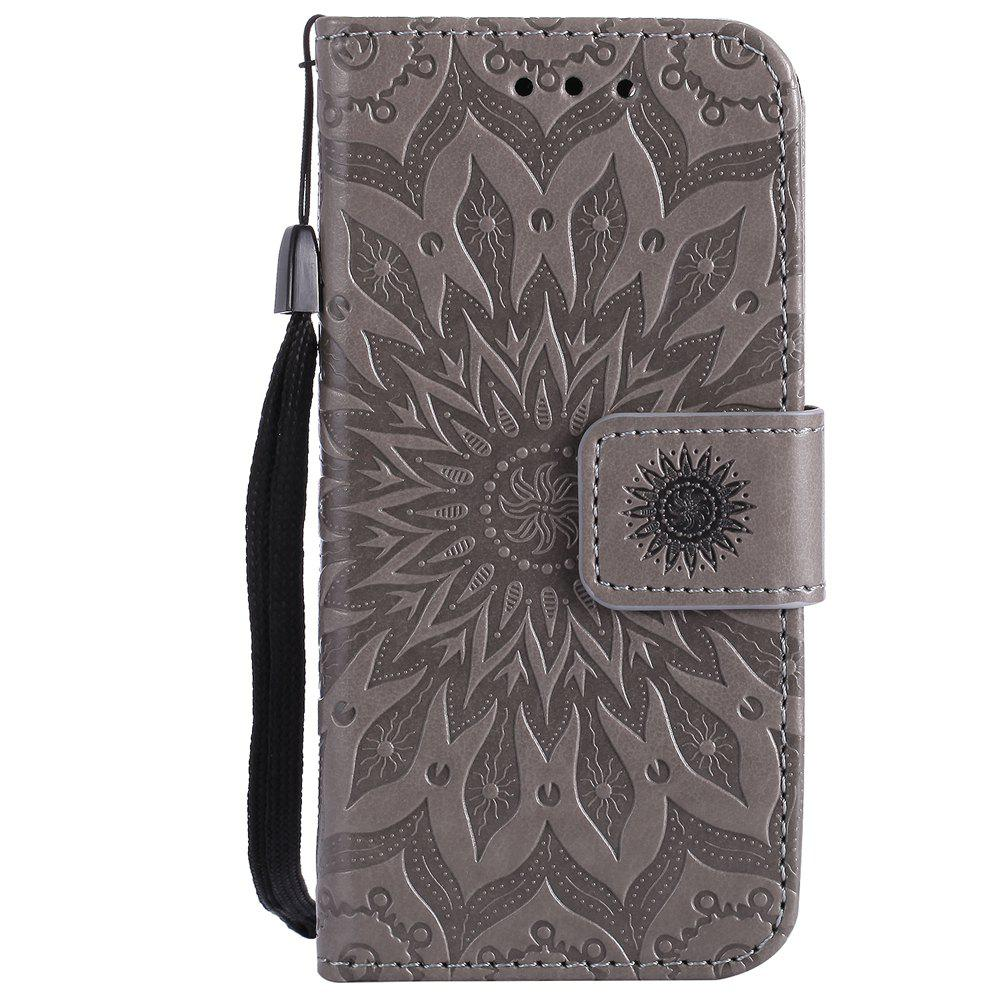 Outfits Sun Flower Printing Design Pu Leather Flip Wallet Lanyard Protective Case for iPod Touch 5 / 6