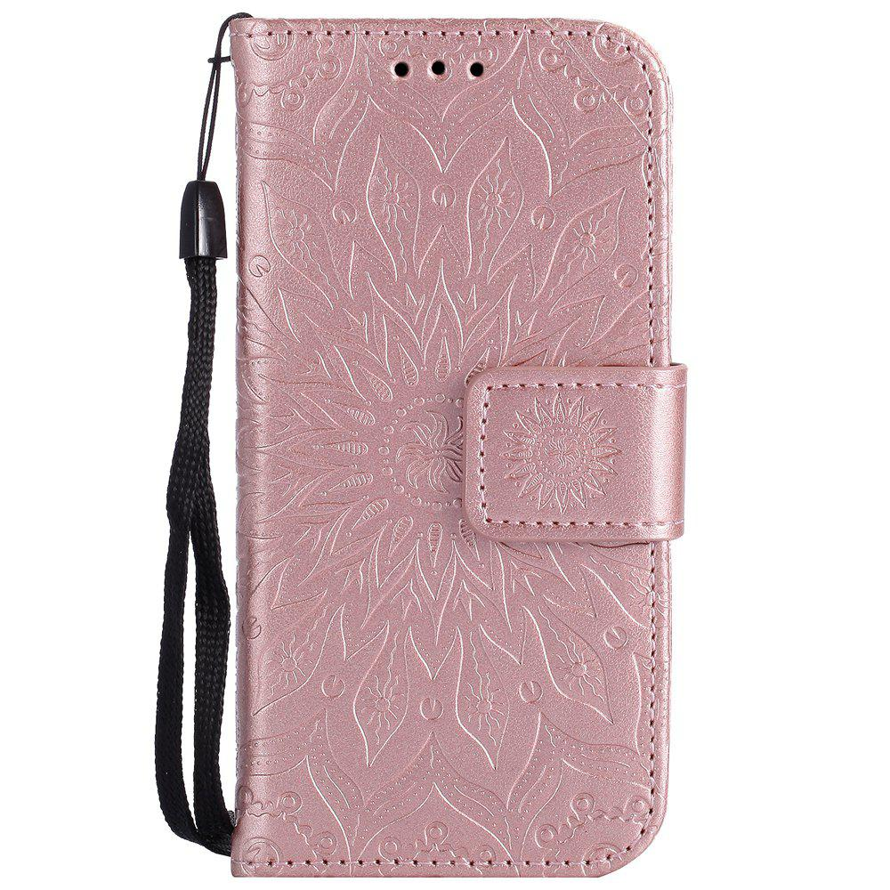 Sale Sun Flower Printing Design Pu Leather Flip Wallet Lanyard Protective Case for iPod Touch 5 / 6