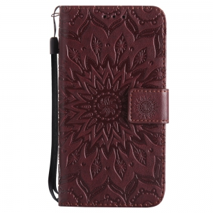 Sun Flower Printing Design Pu Leather Flip Wallet Lanyard Protective Case for Samsung Galaxy J3 Pro 2017 J330 (European Version) -