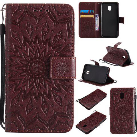 Fashion Sun Flower Printing Design Pu Leather Flip Wallet Lanyard Protective Case for Samsung Galaxy J3 Pro 2017 J330 (European Version)