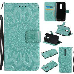 Sun Flower Printing Design Pu Leather Flip Wallet Lanyard Protective Case for ZTE Axon 7 -