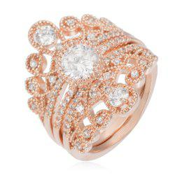 Copper Rehinestone Tiara Stackable Ring - ROSE GOLD 7
