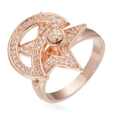 Fancy Copper Rehinestone Star Ring ROSE GOLD 6