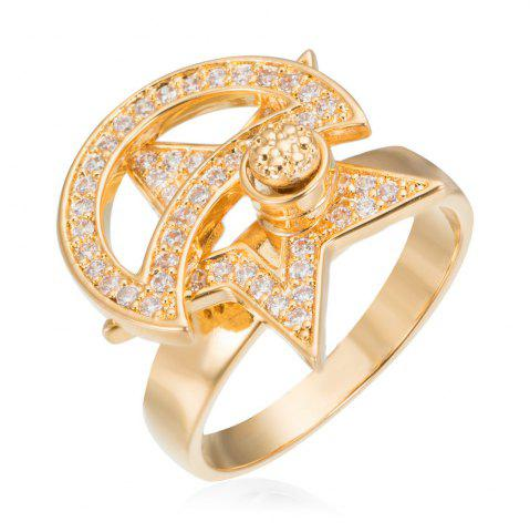 Online Copper Rehinestone Star Ring GOLD 6
