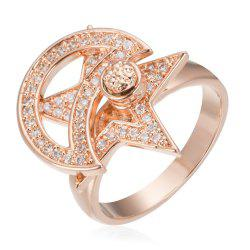 Copper Rehinestone Star Ring - ROSE GOLD 8