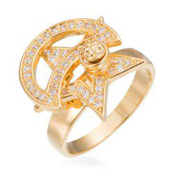Copper Rehinestone Star Ring - GOLD 9