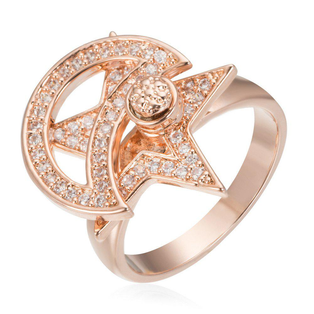 Fancy Copper Rehinestone Star Ring