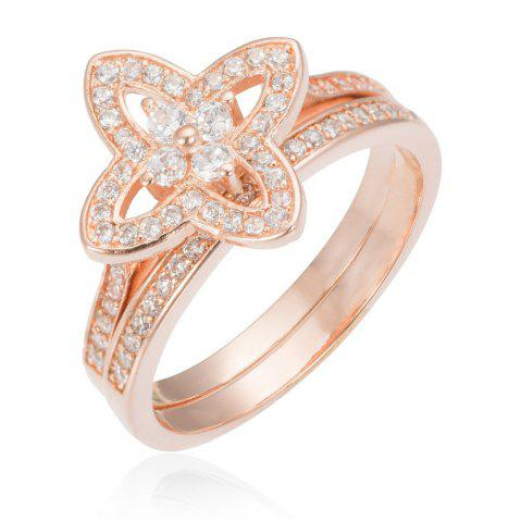 Cheap Copper Rehinestone Lady'S Clover Ring - 9 ROSE GOLD Mobile