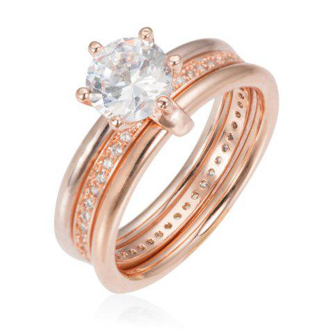 Hot Copper Rehinestone Weddding Engagement Ring - 7 ROSE GOLD Mobile