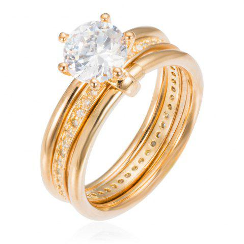 Fashion Copper Rehinestone Weddding Engagement Ring - 9 GOLD Mobile
