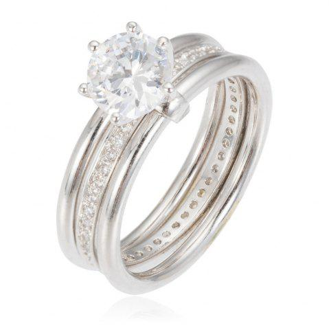 Outfits Copper Rehinestone Weddding Engagement Ring - 8 PLATINUM Mobile