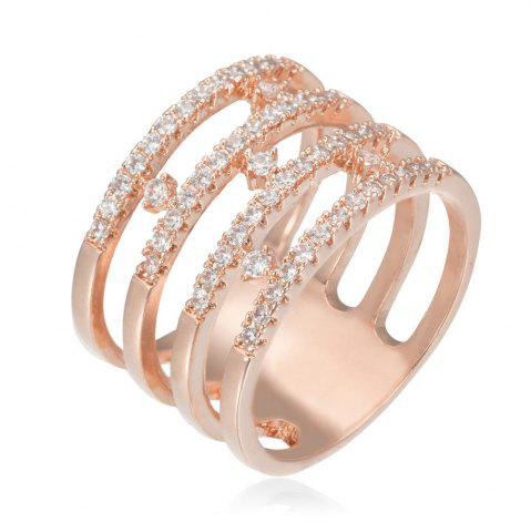 Chic Copper Rehinestone  Hollow-Out Geometry Fashion Ring ROSE GOLD 9
