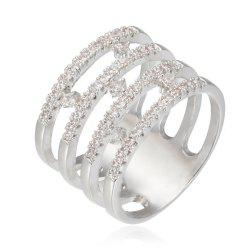 Copper Rehinestone  Hollow-Out Geometry Fashion Ring - PLATINUM 9