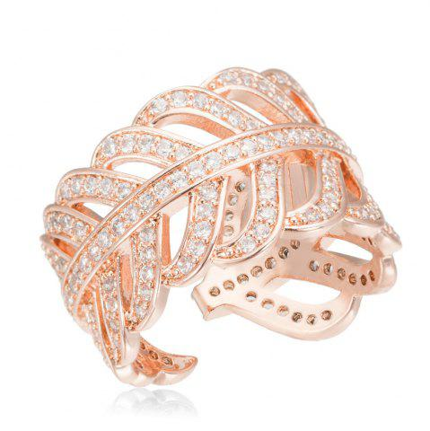 Trendy Copper Rehinestone  Lady'S Leaf Ring - 6 ROSE GOLD Mobile
