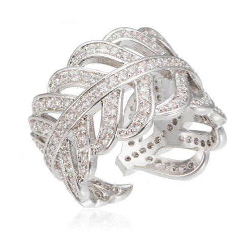 Fancy Copper Rehinestone  Lady'S Leaf Ring - 9 PLATINUM Mobile