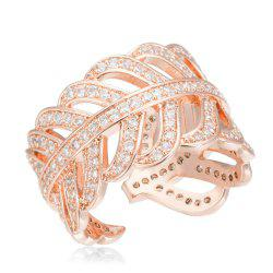 Copper Rehinestone  Lady'S Leaf Ring - ROSE GOLD 6